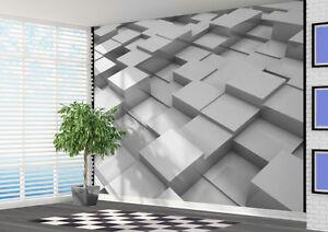 White 3d Blocks Stepping Stones Wallpaper Wall Mural Wall Art