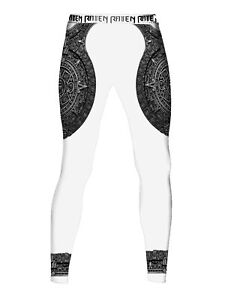 Raven Fightwear Men's Aztec Ranked Leggings Spats MMA BJJ White