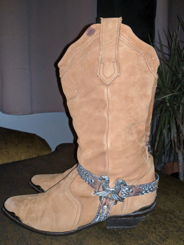 Maine Woods deer skin Braun Leder eagle harness cowboy boots ladies 9.5 m