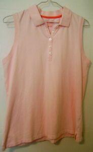 LL-Bean-Women-039-s-Polo-Shirt-Sleeveless-Small-Pink-5-Button-Summer-Clean-Cotton