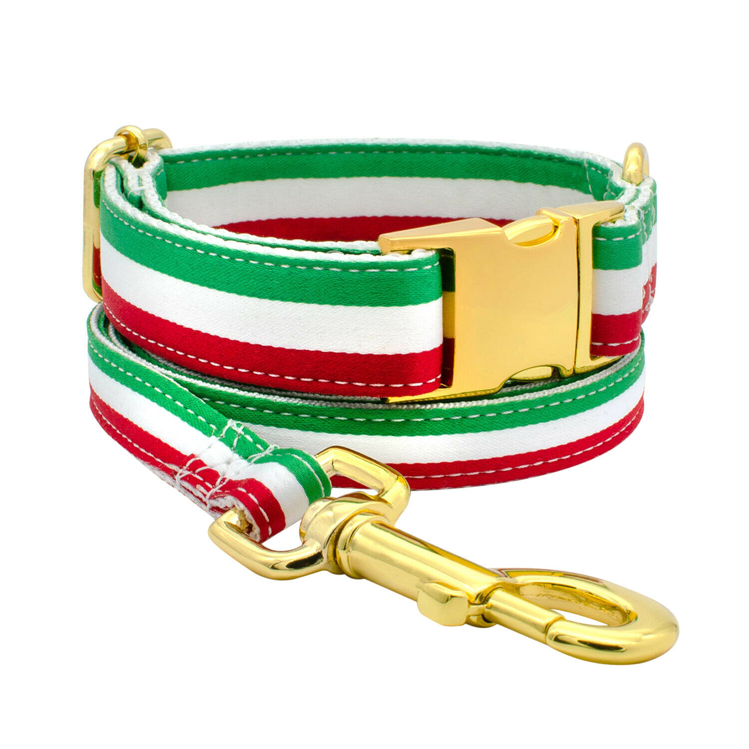 Italian  Flag Dog Collar Leash Set Adjustable Grün Weiß rot Gold Hardware
