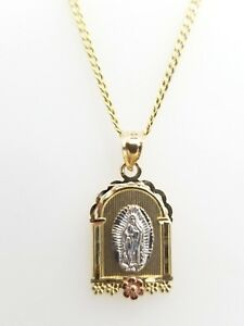 """Real 14k Tri Gold Religious Virgin Mary Vintage Charm Pendant Cuban Chain 20"""""""