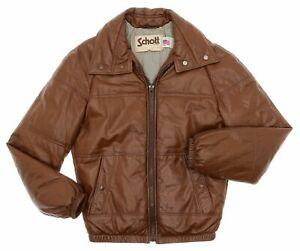 Vintage-SCHOTT-Leather-Jacket-Small-36-Mens-DOWN-FILLED-Vtg-Bomber-Puffy-JACKET