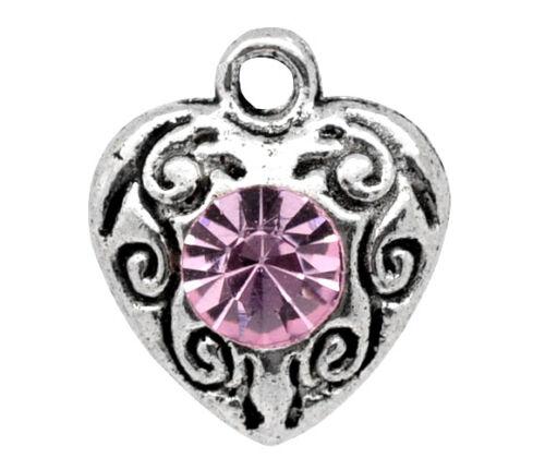 100 Gift Silver Tone Pink Rhinestone Love Heart Charm Pendants