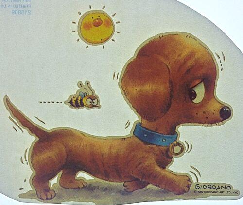 Original Vintage Walking Dog With Bee Iron On Transfer