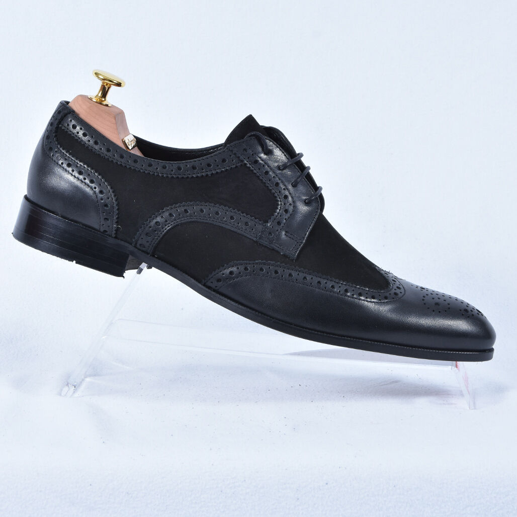Herrenschuhe Halb Schuhe Leder Schnüre Schwarz Budapester Neu Leder Schuhe  41 42 43 c594f6