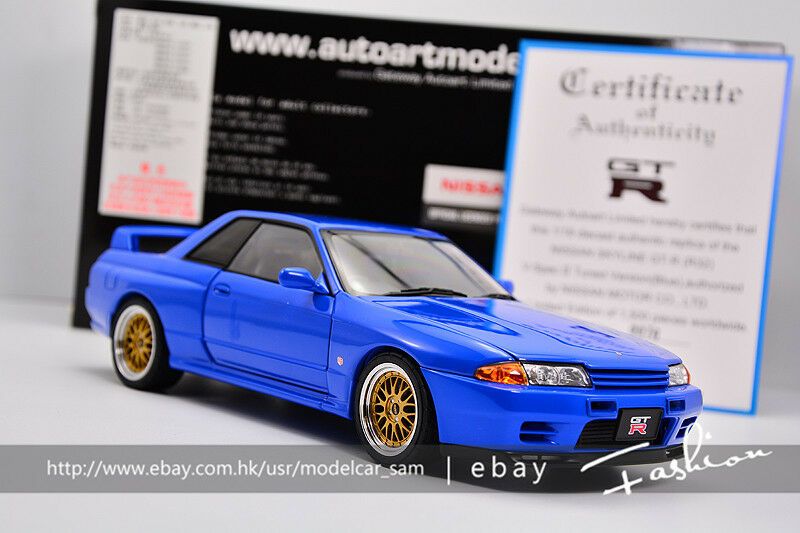 bilkonst 1 18 Nissan SKYLINE GT -R (R32) V -SPEC II TUNERAD VERSION blå