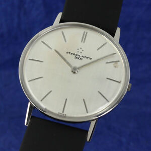 ETERNA-MATIC-3000-CLASSIC-VINTAGE-1960-SILVER-LARGE-SWISS-WATCH-GENTS-ST-STEEL