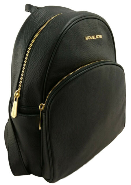 Michael Kors Abbey Pebble Leather MD Backpack 35S7GAYB1L Black/gold