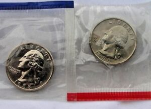 1993 P and D Washington Quarter TWO Coins from US Mint Uncirculated Set BU Cello