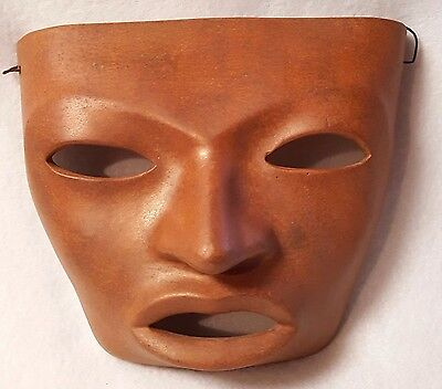 "Clay Mask Mexico Texcoco Pottery Face Terracotta Wire Hanger 5.5"" x 6.5"""