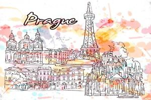 Art-Postcard-Prague-Czech-Republic-Landmarks-City-View-Travel-9i