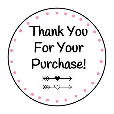 30 THANK YOU FOR YOUR PURCHASE ARROWS 1.5 INCH LABELS ROUND STICKERS