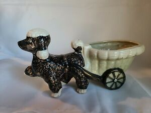 VINTAGE-SHEFFORD-HAND-DECORATED-POODLE-DOG-WITH-CART-PLANTER