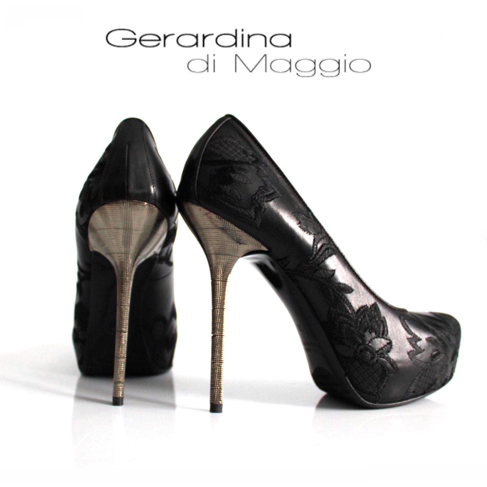GERARDINA DI MAGGIO  Leder Pumps 39 mit Stickerei schwarz %SALE% OVP