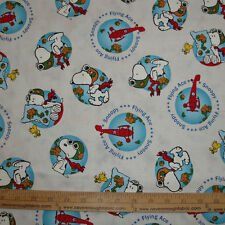 COTTON Fabric Snoopy Flying Ace World Woodstock Airplane Plane  BTY