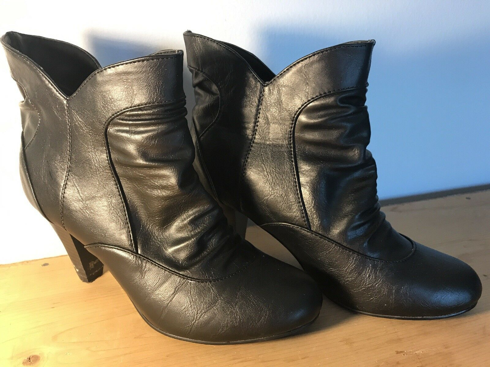 "Madden Girl Slip On Ankle Boots.  3"" Heel.  Black size 8"