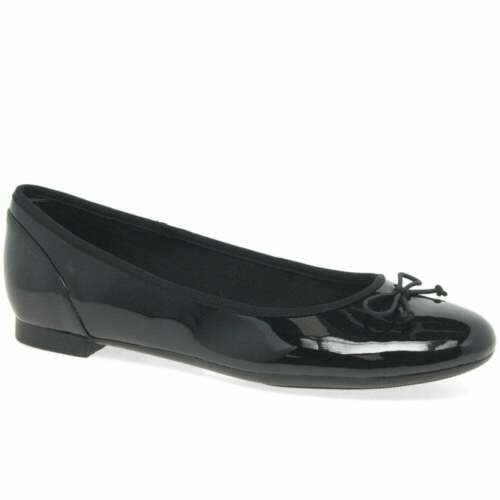 Clarks Couture Bloom Ladies Girls Black Patent Bow Flat Ballet Pump Dolly Shoes