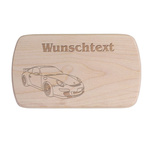 Fahrzeug Porsche Ahorn Frühstücksbrettchen mit Wunschtext und Motiv