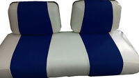 Club Car Ds '99 & Down Golf Cart Custom Seat Covers-front And Rear (white/blue)