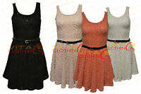 Womens Sleeveless Belted Flocked Skater Summer Tailored Casual Party Dress