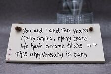 PERSONALISED 10TH WEDDING ANNIVERSARY GIFT HUSBAND WIFE 2nd 30TH 25 50TH PLAQUE
