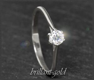 Diamant-Solitaer-585-Gold-Ring-Brillant-0-27-ct-H-VS1-Weissgold-Damenring-NEU