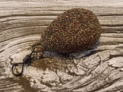 10 x 3oz FLAT PEAR BROWN GRAVEL TEXTURE COATED CARPBARBEL LEAD WEIGHTS