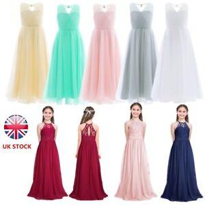 UK Girls Flower Dress Princess Formal Party Wedding Bridesmaid Chiffon Dresses