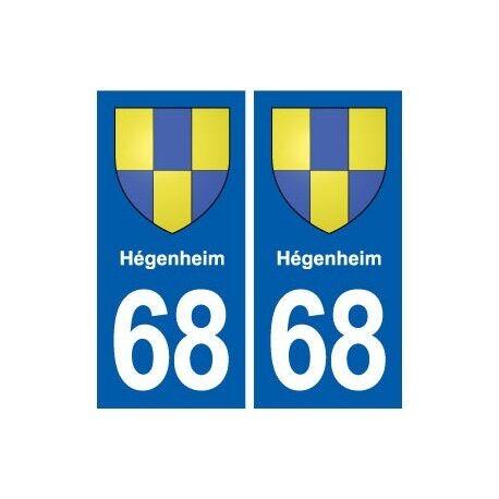 68 Hégenheim blason autocollant plaque stickers ville -  Angles : droits