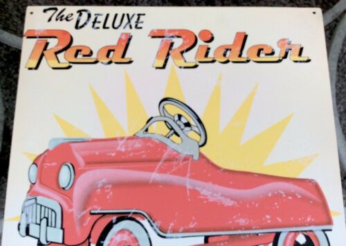 """The Deluxe Red Rider Pedal Car Vintaged Metal Sign 13.75/""""x13.75/"""" Retired HTF"""