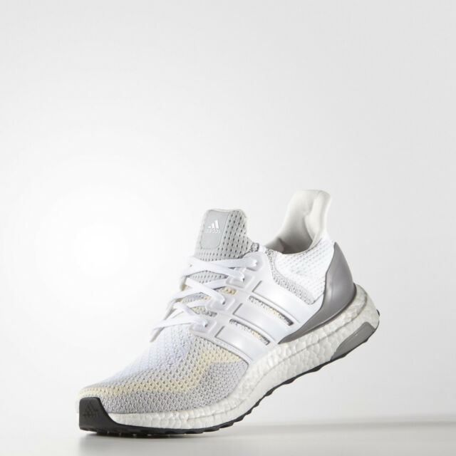 a09f84be681e1 adidas Ultra Boost 2.0 Mens White Grey Running Shoes Trainers AQ4007 UK 8