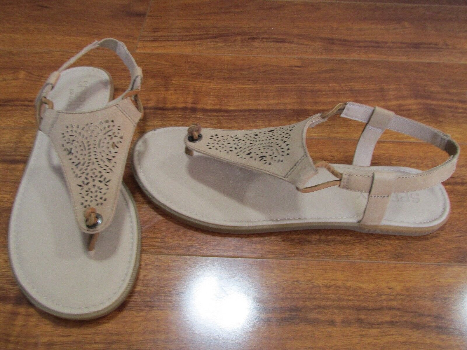 NEW SPERRY Calla Jane Perforated Leather Sandals WOMENS 9 Tan STS80531  60.00