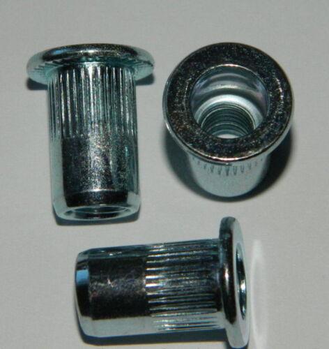 250 Blindnietmutter M6 Stahl verzinkt  Flachkopf gerändelt klemmt 3,1-4,5mm