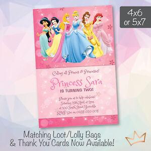 Image Is Loading Personalised Disney Princess Birthday Invitations Princesses Party Invites