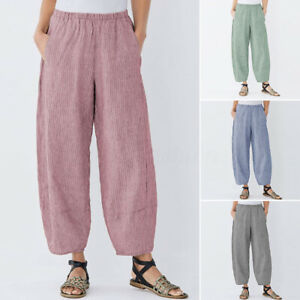 Mode-Femme-Pantalon-Decontracte-lache-Loose-Poche-Bande-Taille-Jambe-Large-Plus