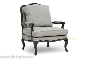 Classic-Antiqued-French-Accent-Lounge-Chair-Antoinette-Scrolled-Trim-Linen-Gray