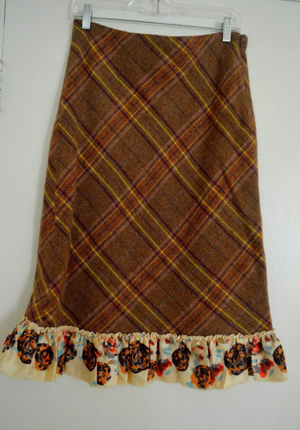 4 Anthropologie Odille Plaid Wool Skirt Extremely Rare