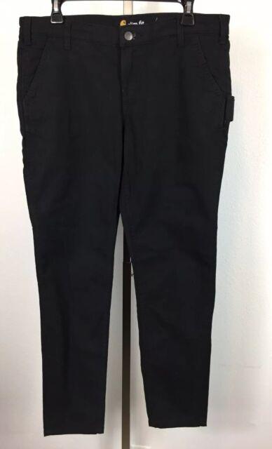 Carhartt Women's Black Size 12 Slim Fit Workwear 5 Pocket Cargo Pants
