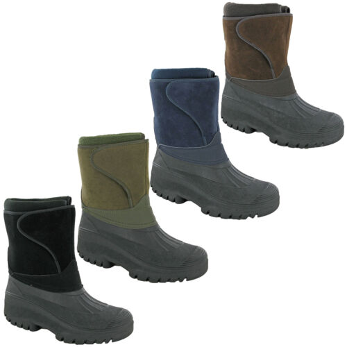 Groundwork Snow Winter Boots Ice Calf Waterproof Hiking Touch Fasten Strap Mens
