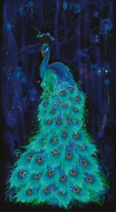 Timeless-Treasures-Beautiful-Plume-Midnight-Peacock-Cotton-fabric-by-the-panel