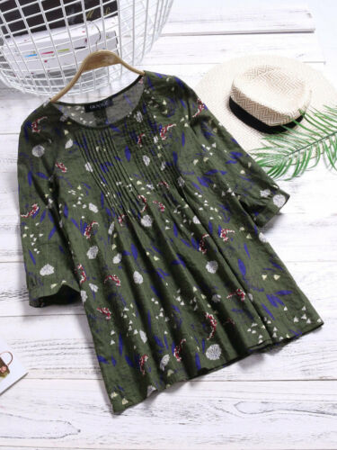 Women/'s Long Sleeve Cotton Floral T-Shirt Tops Blouse Summer Plus Size Frill Tee