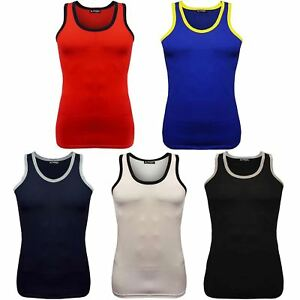 eb68732720697 Mens Contrast Neck Cotton Summer Tank Top Gym Training Beach Wear ...