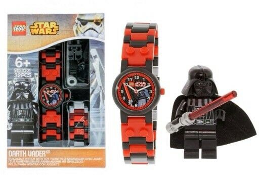 Lego Star Wars Darth Vader Kids Buildable Watch With Link Bracelet + Minifigure