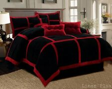 10 Piece Micro Suede Red Black Patchwork Comforter Sheet Set King Size