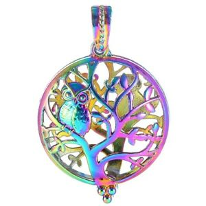 2X-Cute-Tree-Owl-Bear-Pearl-Cage-Rainbow-Color-Locket-Pendant-For-Necklace-Craft