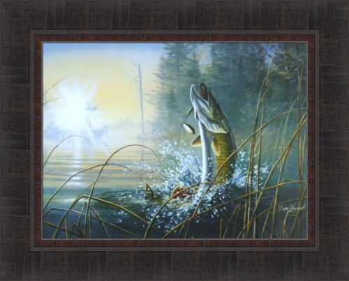 WAKING THE GIANT by Jim Hansel Muskie Musky Fish Fishing 17x21 FRAMED PICTURE