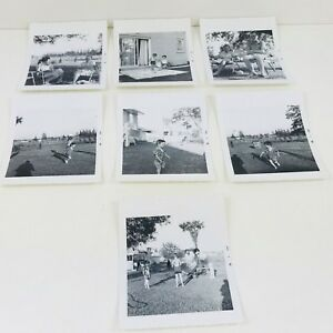 Lot-of-7-Original-Vintage-1960s-B-amp-W-Photos-Social-History-Family-Garden
