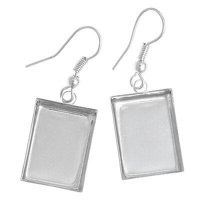 20PCs Earring Drop Cabochon Setting Silver Tone Earring Hook 3.9x1.35cm
