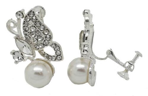 Cristal Plateado Plata Mariposa para Mujer Damas Chicas Clip en Pendientes Tachuelas CZ